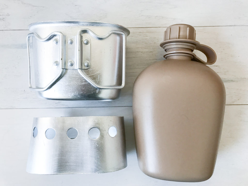 canteen gi portable stove and cup for boiling water and cooking food